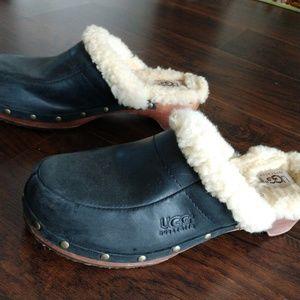 UGG Leather Studded Sheepskin Clogs/Mules/Slip On